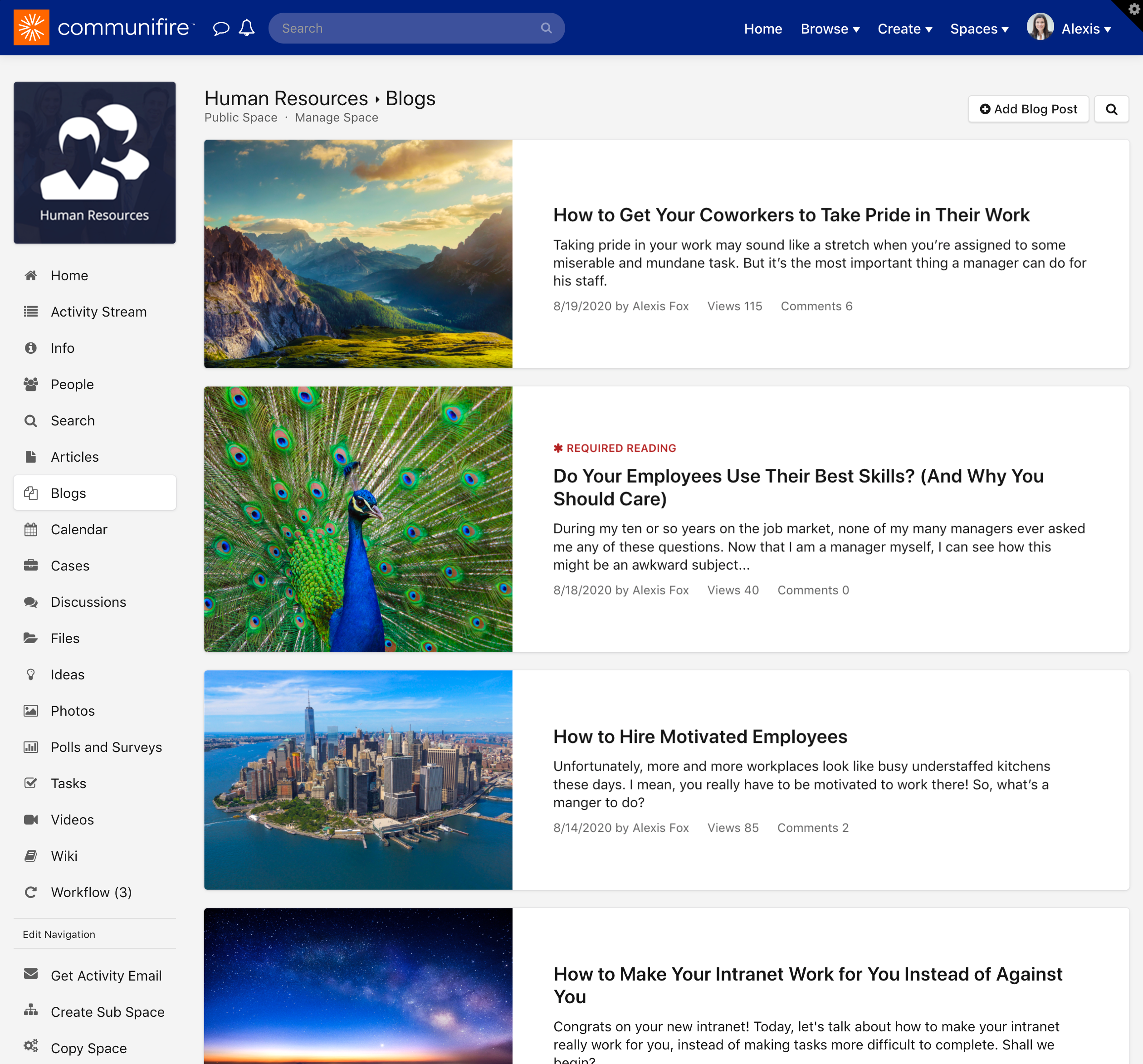 The blogs homepage