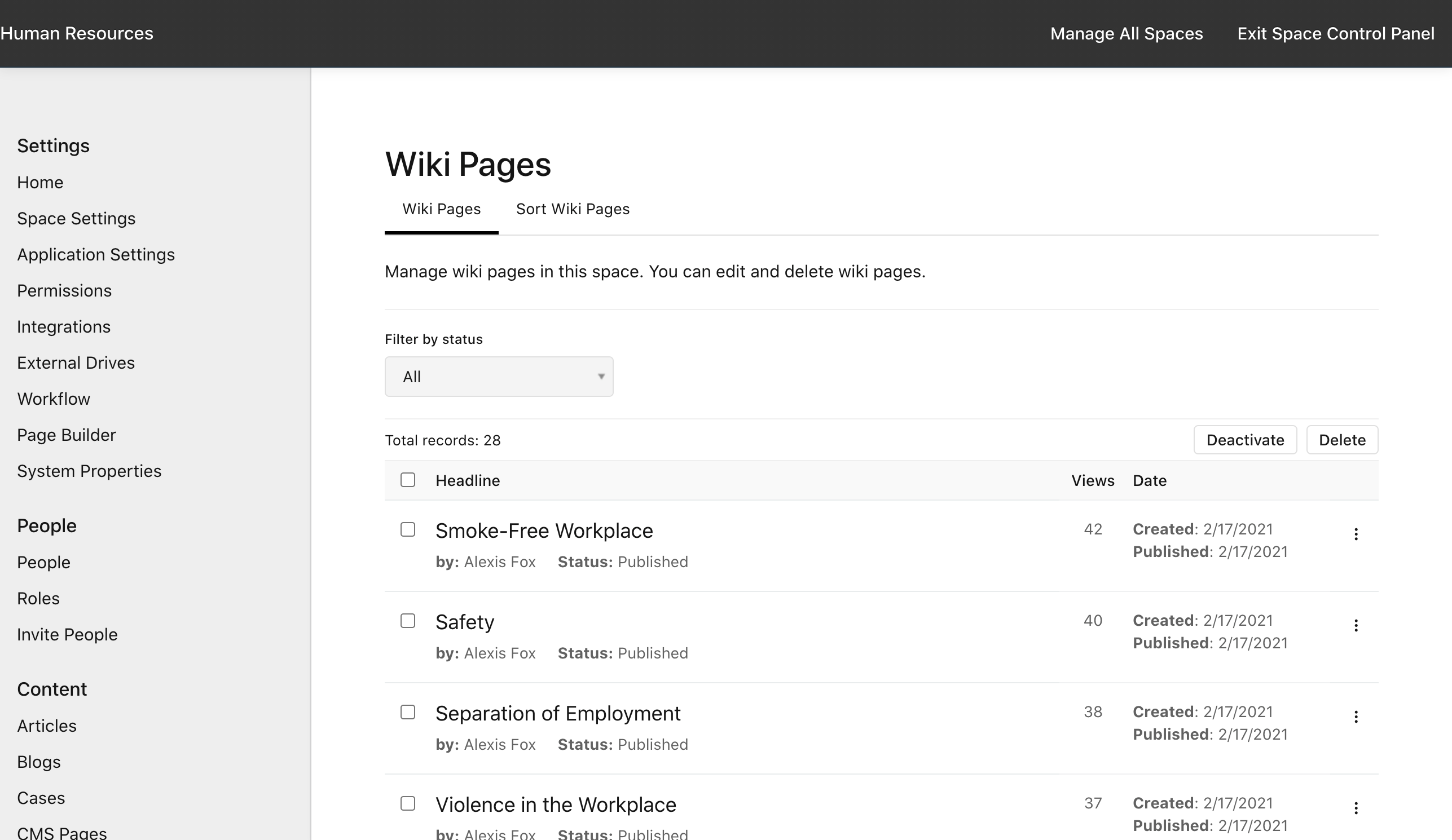 Manage Space: Wikis