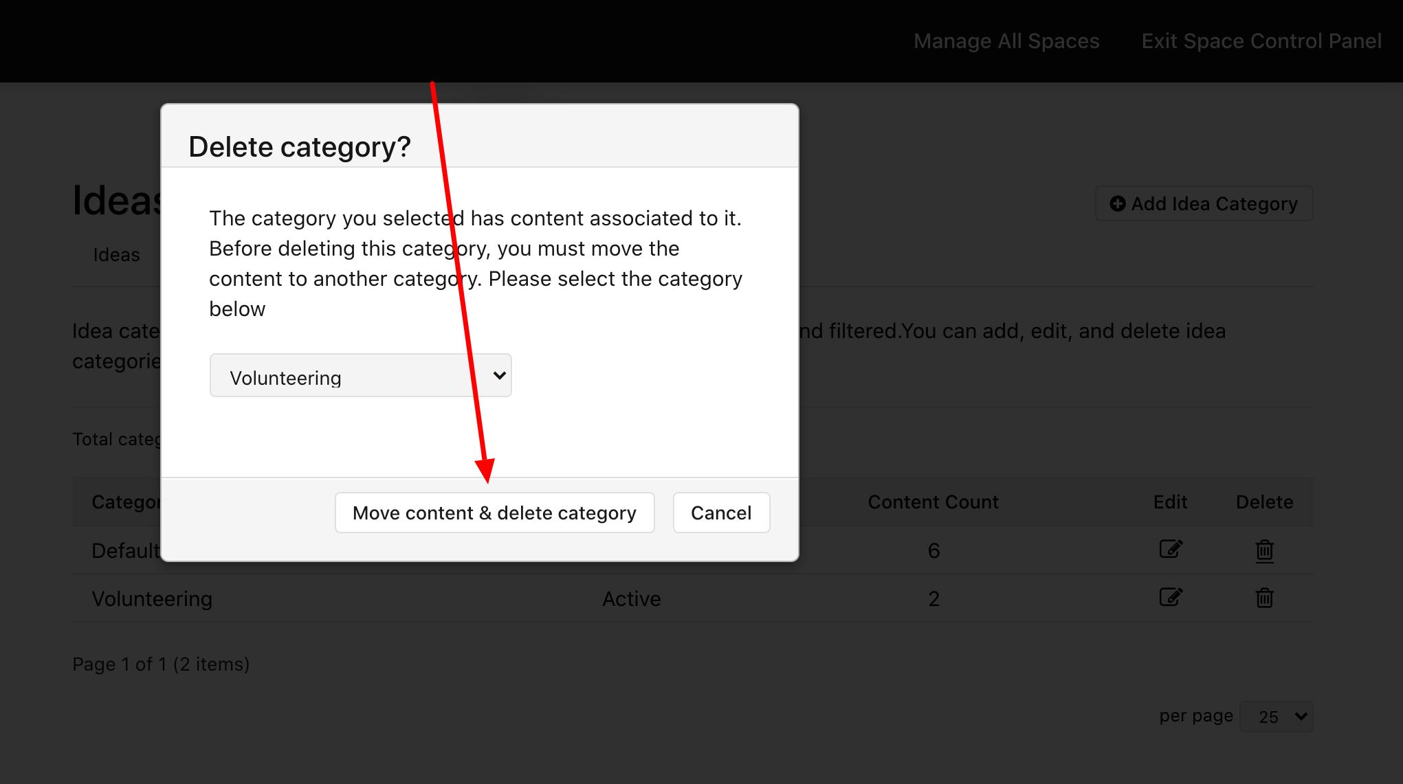 Click Move content & delete category