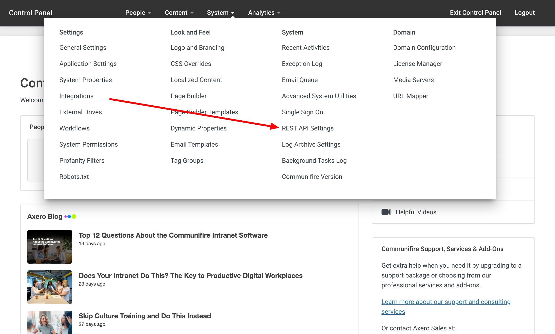 Click System > REST API Settings